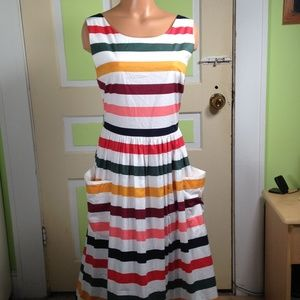 Carolina Herrera striped stretch-cotton midi sz 6